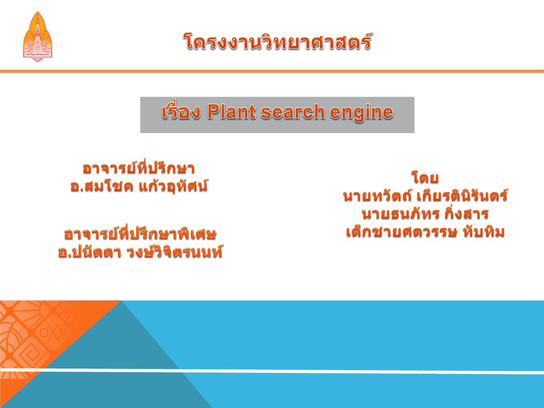 ในการทำโครงงาน PLANT Search Engine สามารถสรุปผล การทดลอง ได้ว่า การค้นหาแบ่งเป็น 2 ส่วน ได้แก่ 1 Select mode เป็นการใช้ตัวเลือกในการค้นหาพืช และ 2 Search mode เป็นการใช้ Keyword ในการ ค้นหาพืช เมื่อได้ชื่อพืชที่ต้องการ แล้วตัวโปรแกรมที่จะแสดงข้อมูล ชื่อวงศ์ ชื่อภาษาไทย ชื่อทาง วิทยาศาสตร์ ลักษณะ และ รูปภาพ รวมถึงประโยชน์ใช้สอยของพืช ชนิดนั้น