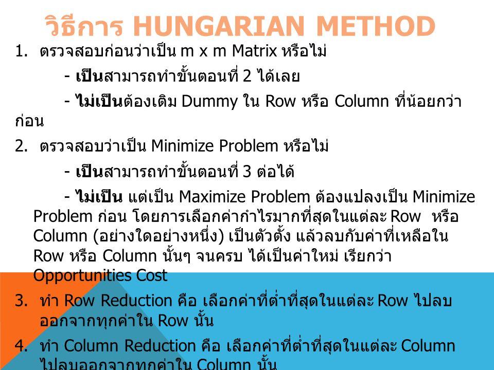 วิธีการ HUNGARIAN METHOD 1. ตรวจสอบก่อนว่าเป็น m x m Matrix หรือไม่ - เป็นสามารถทำขั้นตอนที่ 2 ได้เลย - ไม่เป็นต้องเติม Dummy ใน Row หรือ Column ที่น้