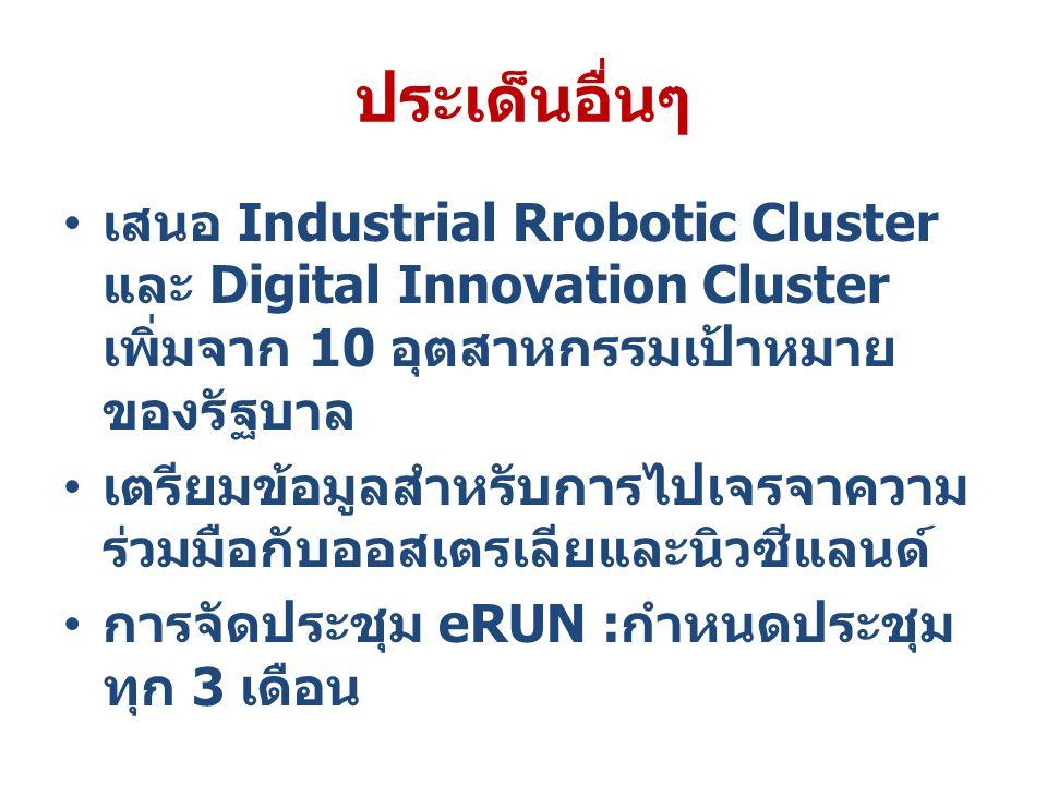 ประเด็นอื่นๆ เสนอ Industrial Rrobotic Cluster และ Digital Innovation Cluster เพิ่มจาก 10 อุตสาหกรรมเป้าหมาย ของรัฐบาล เตรียมข้อมูลสำหรับการไปเจรจาความ ร่วมมือกับออสเตรเลียและนิวซีแลนด์ การจัดประชุม eRUN : กำหนดประชุม ทุก 3 เดือน