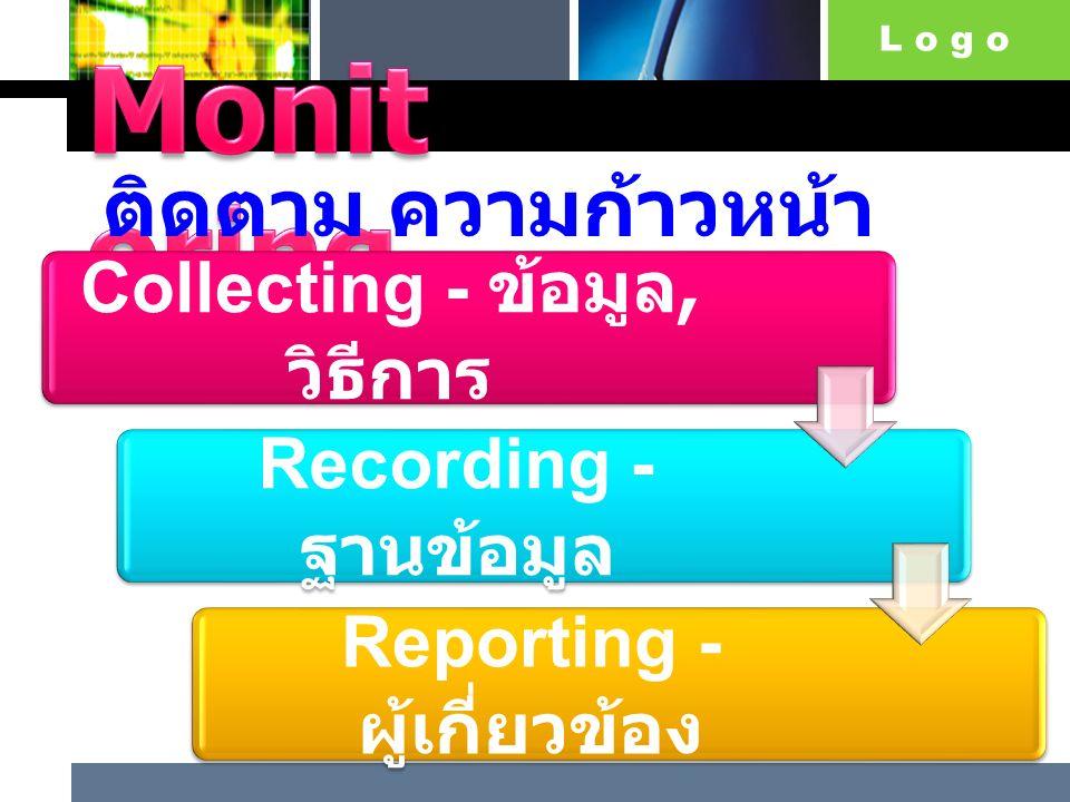 L o g o ติดตาม ความก้าวหน้า ของโครงการ Collecting - ข้อมูล, วิธีการ Recording - ฐานข้อมูล Reporting - ผู้เกี่ยวข้อง