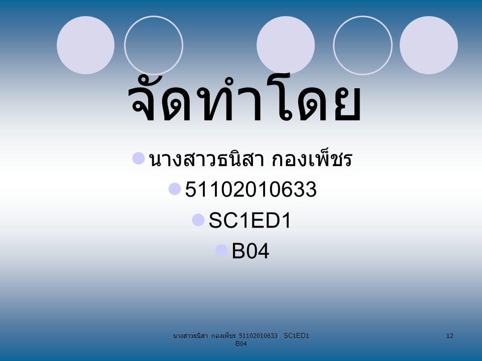 นางสาวธนิสา กองเพ็ชร 51102010633 SC1ED1 B04 12 จัดทำโดย นางสาวธนิสา กองเพ็ชร 51102010633 SC1ED1 B04