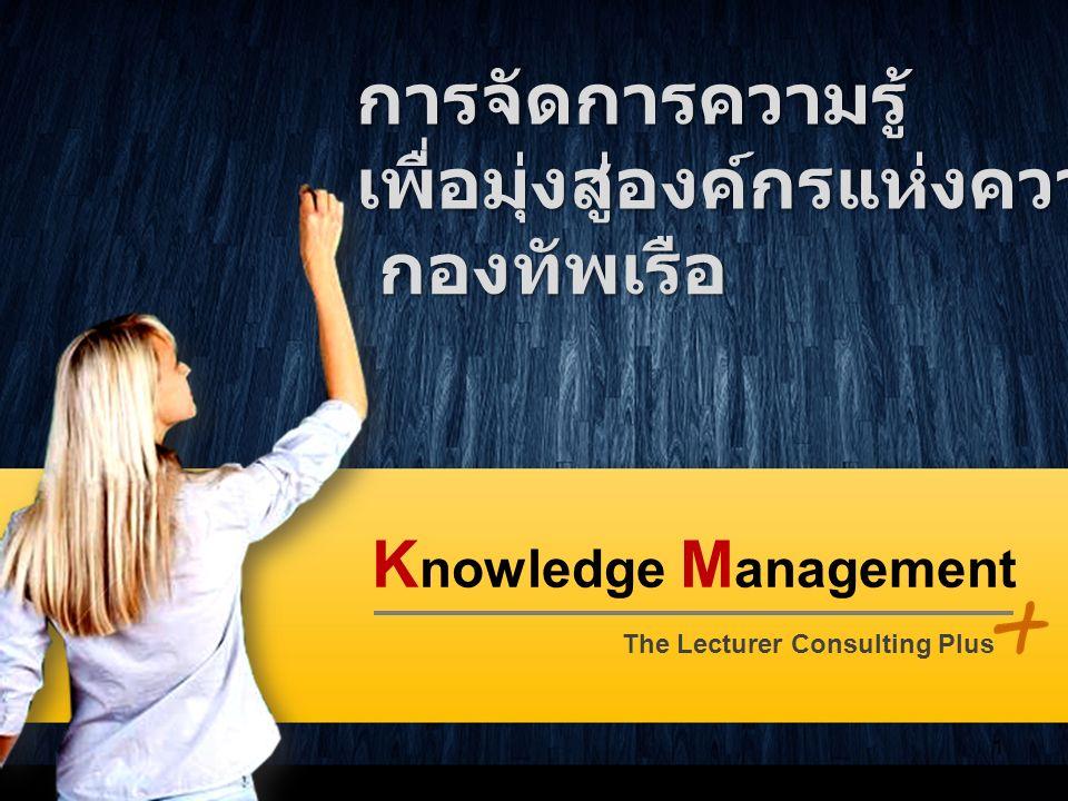 K nowledge M anagement The Lecturer Consulting Plus 1 การจัดการความรู้เพื่อมุ่งสู่องค์กรแห่งความเป็นเลิศ กองทัพเรือ