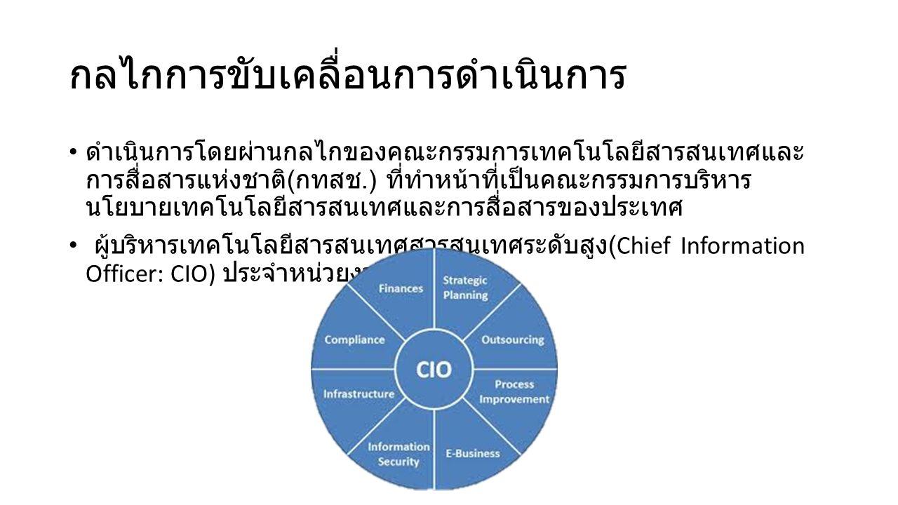 กลไกการขับเคลื่อนการดําเนินการ ดําเนินการโดยผ่านกลไกของคณะกรรมการเทคโนโลยีสารสนเทศและ การสื่อสารแห่งชาติ ( กทสช.) ที่ทําหน้าที่เป็นคณะกรรมการบริหาร นโยบายเทคโนโลยีสารสนเทศและการสื่อสารของประเทศ ผู้บริหารเทคโนโลยีสารสนเทศสารสนเทศระดับสูง (Chief Information Officer: CIO) ประจําหน่วยงานของรัฐ