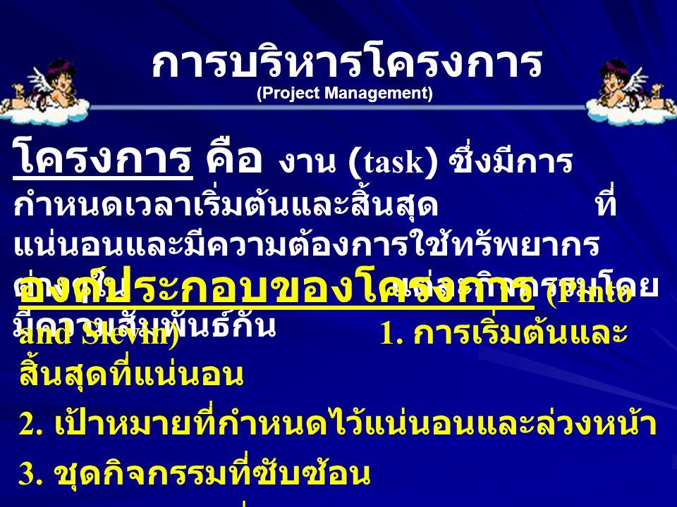 การบริหารโครงการ (Project Management) โครงการ คือ งาน (task) ซึ่งมีการ กำหนดเวลาเริ่มต้นและสิ้นสุด ที่ แน่นอนและมีความต้องการใช้ทรัพยากร ต่างๆใน แต่ละ