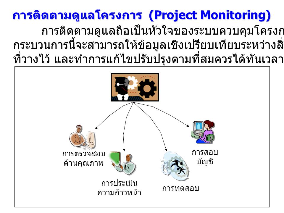 การติดตามดูแลโครงการ (Project Monitoring) การติดตามดูแลถือเป็นหัวใจของระบบควบคุมโครงการทีเดียว ทั้งนี้เพราะ กระบวนการนี้จะสามารถให้ข้อมูลเชิงเปรียบเที