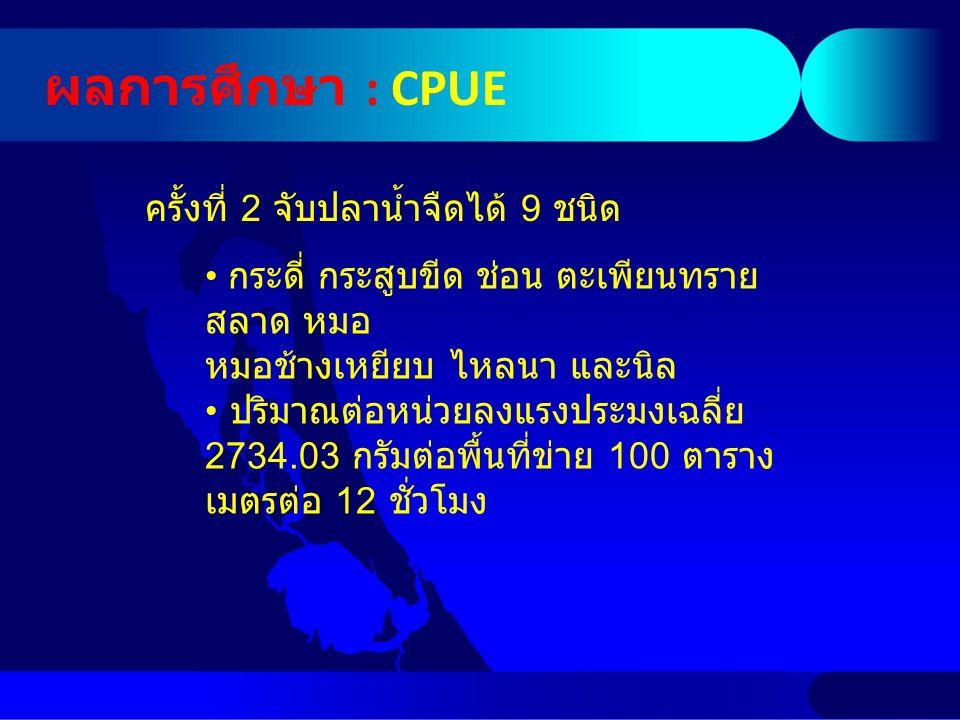 ผลการศึกษา : CPUE ครั้งที่ 2 จับปลาน้ำจืดได้ 9 ชนิด กระดี่ กระสูบขีด ช่อน ตะเพียนทราย สลาด หมอ หมอช้างเหยียบ ไหลนา และนิล ปริมาณต่อหน่วยลงแรงประมงเฉลี่ย 2734.03 กรัมต่อพื้นที่ข่าย 100 ตาราง เมตรต่อ 12 ชั่วโมง