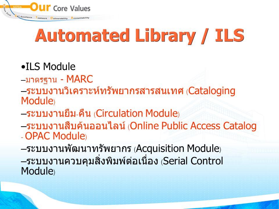 Automated Library / ILS ILS Module – มาตรฐาน - MARC – ระบบงานวิเคราะห์ทรัพยากรสารสนเทศ (Cataloging Module) – ระบบงานยืม-คืน (Circulation Module) – ระบบงานสืบค้นออนไลน์ (Online Public Access Catalog - OPAC Module) – ระบบงานพัฒนาทรัพยากร (Acquisition Module) – ระบบงานควบคุมสิ่งพิมพ์ต่อเนื่อง (Serial Control Module)