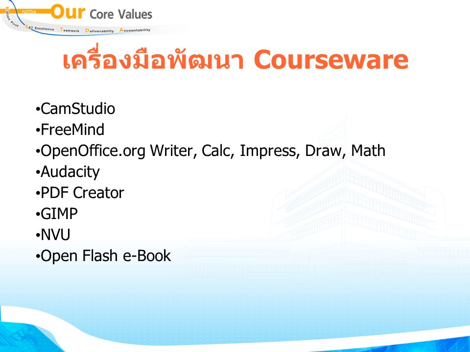 เครื่องมือพัฒนา Courseware CamStudio FreeMind OpenOffice.org Writer, Calc, Impress, Draw, Math Audacity PDF Creator GIMP NVU Open Flash e-Book