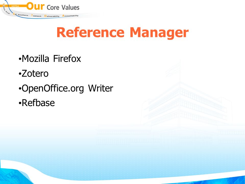 Reference Manager Mozilla Firefox Zotero OpenOffice.org Writer Refbase