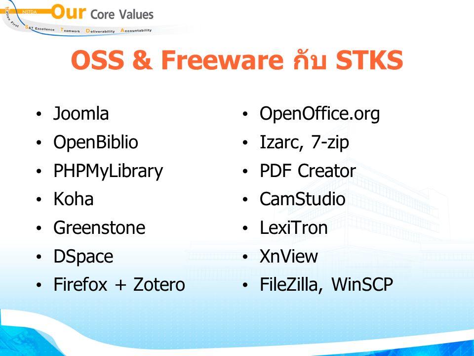 OSS & Freeware กับ STKS Joomla OpenBiblio PHPMyLibrary Koha Greenstone DSpace Firefox + Zotero OpenOffice.org Izarc, 7-zip PDF Creator CamStudio LexiTron XnView FileZilla, WinSCP