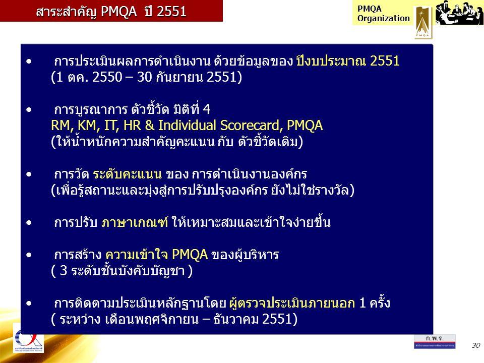PMQA Organization 30 การประเมินผลการดำเนินงาน ด้วยข้อมูลของ ปีงบประมาณ 2551 (1 ตค. 2550 – 30 กันยายน 2551) การบูรณาการ ตัวชี้วัด มิติที่ 4 RM, KM, IT,
