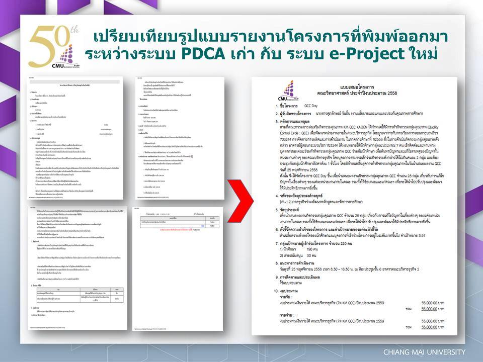 เปรียบเทียบรูปแบบรายงานโครงการที่พิมพ์ออกมา ระหว่างระบบ PDCA เก่า กับ ระบบ e-Project ใหม่
