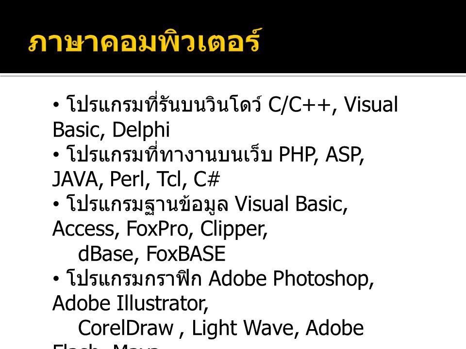 โปรแกรมที่รันบนวินโดว์ C/C++, Visual Basic, Delphi โปรแกรมที่ทางานบนเว็บ PHP, ASP, JAVA, Perl, Tcl, C# โปรแกรมฐานข้อมูล Visual Basic, Access, FoxPro, Clipper, dBase, FoxBASE โปรแกรมกราฟิก Adobe Photoshop, Adobe Illustrator, CorelDraw, Light Wave, Adobe Flash, Maya โปรแกรมเกม โปรแกรมคำนวณ Excel, Calculator