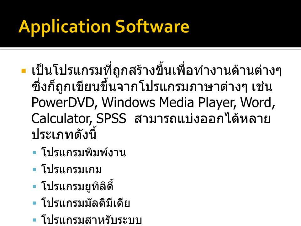 เป็นโปรแกรมที่ถูกสร้างขึ้นเพื่อทำงานด้านต่างๆ ซึ่งก็ถูกเขียนขึ้นจากโปรแกรมภาษาต่างๆ เช่น PowerDVD, Windows Media Player, Word, Calculator, SPSS สามารถแบ่งออกได้หลาย ประเภทดังนี้  โปรแกรมพิมพ์งาน  โปรแกรมเกม  โปรแกรมยูทิลิตี้  โปรแกรมมัลติมีเดีย  โปรแกรมสาหรับระบบ  โปรแกรมภาษาสาหรับพัฒนาซอฟต์แวร์