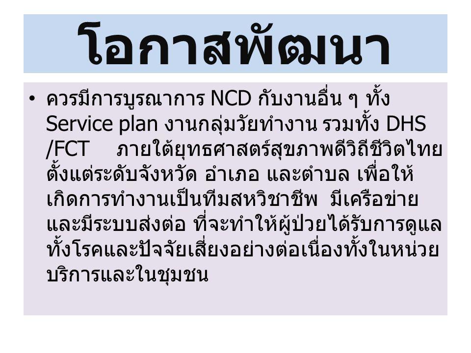 โอกาสพัฒนา ควรมีการบูรณาการ NCD กับงานอื่น ๆ ทั้ง Service plan งานกลุ่มวัยทำงาน รวมทั้ง DHS /FCT ภายใต้ยุทธศาสตร์สุขภาพดีวิถีชีวิตไทย ตั้งแต่ระดับจังหวัด อำเภอ และตำบล เพื่อให้ เกิดการทำงานเป็นทีมสหวิชาชีพ มีเครือข่าย และมีระบบส่งต่อ ที่จะทำให้ผู้ป่วยได้รับการดูแล ทั้งโรคและปัจจัยเสี่ยงอย่างต่อเนื่องทั้งในหน่วย บริการและในชุมชน