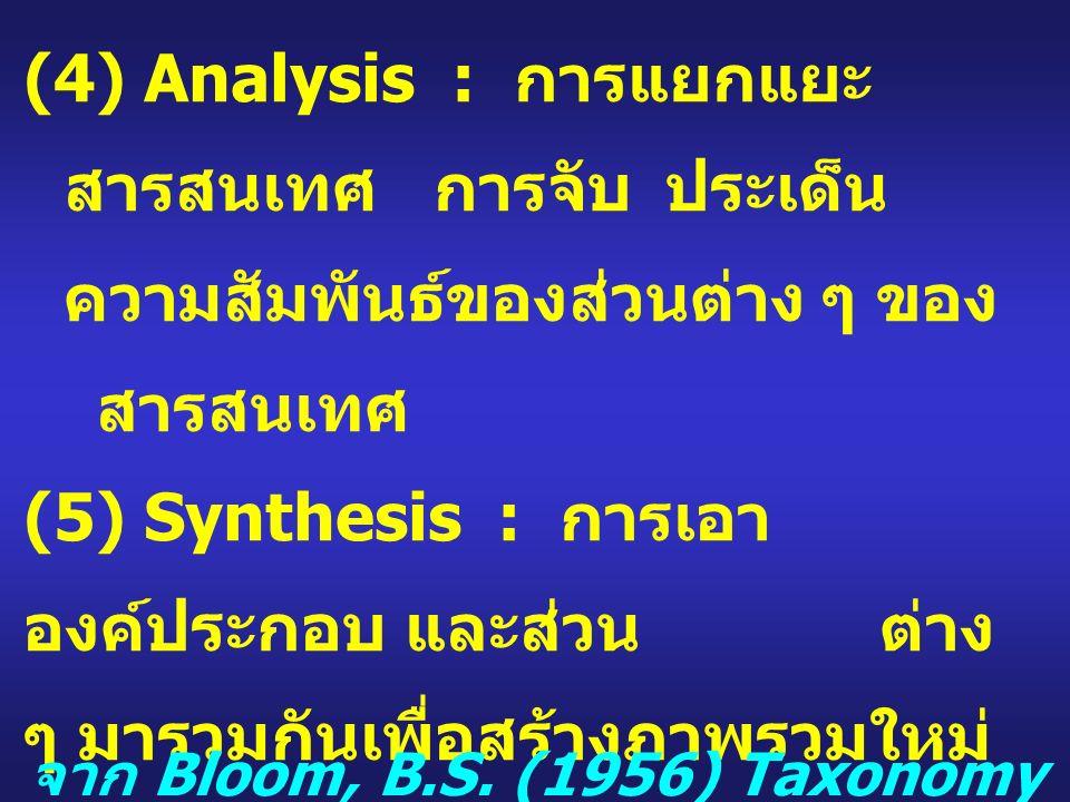 (4) Analysis : การแยกแยะ สารสนเทศ การจับประเด็น ความสัมพันธ์ของส่วนต่าง ๆ ของ สารสนเทศ (5) Synthesis : การเอา องค์ประกอบ และส่วน ต่าง ๆ มารวมกันเพื่อสร้างภาพรวมใหม่ (6) Evaluation : การประเมิน การตัดสิน จาก Bloom, B.S.