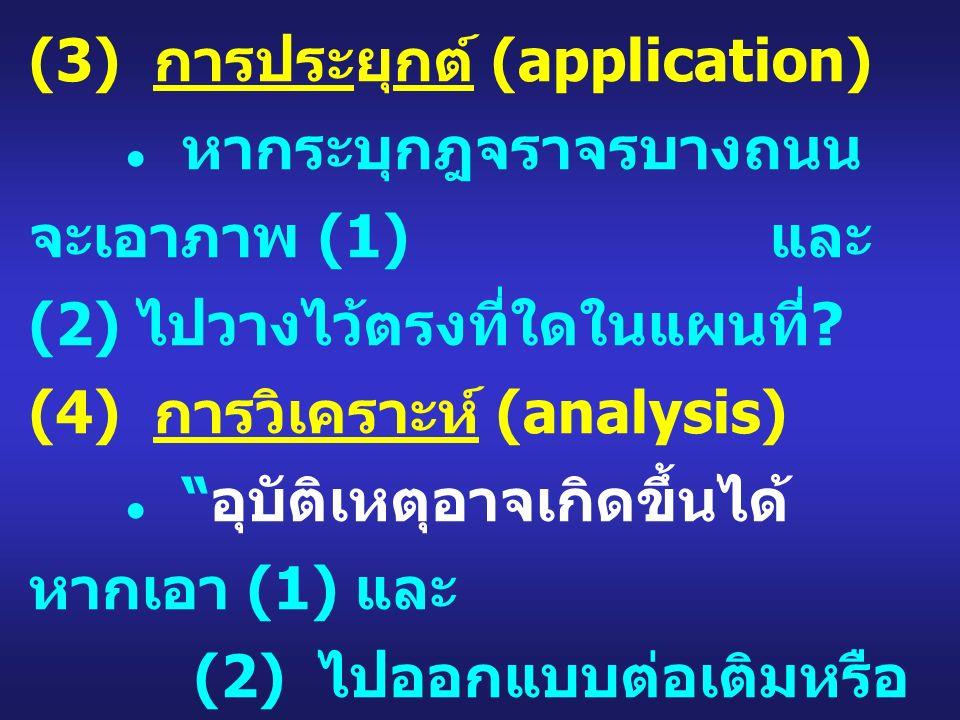 (3) การประยุกต์ (application) ● หากระบุกฎจราจรบางถนน จะเอาภาพ (1) และ (2) ไปวางไว้ตรงที่ใดในแผนที่ .