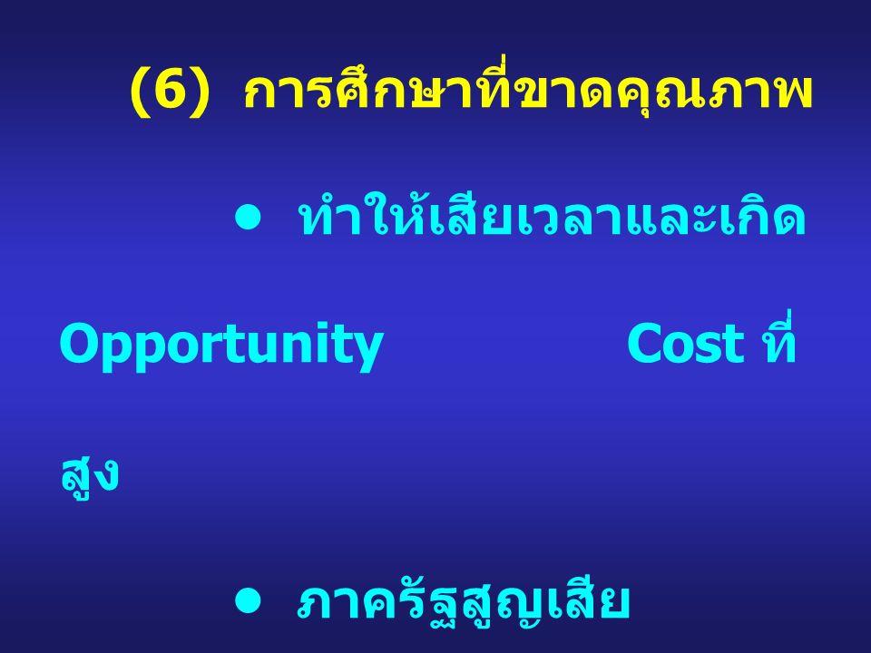 (6) การศึกษาที่ขาดคุณภาพ ทำให้เสียเวลาและเกิด Opportunity Cost ที่ สูง ภาครัฐสูญเสีย ทรัพยากรอย่างไร้ ประโยชน์