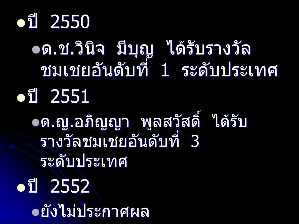 ปี 2550 ปี 2550 ด. ช. วินิจ มีบุญ ได้รับรางวัล ชมเชยอันดับที่ 1 ระดับประเทศ ด.