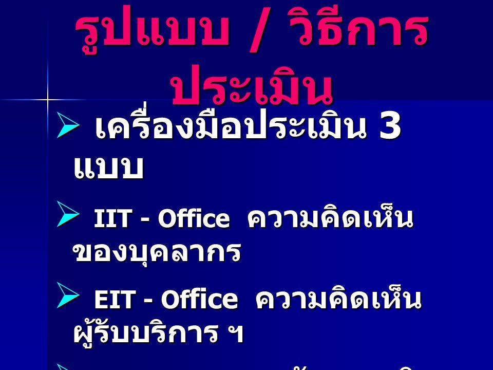  เครื่องมือประเมิน 3 แบบ  IIT - Office ความคิดเห็น ของบุคลากร  EIT - Of fice ความคิดเห็น ผู้รับบริการ ฯ  EBIT – Office หลักฐานเชิง ประจักษ์ รูปแบบ / วิธีการ ประเมิน