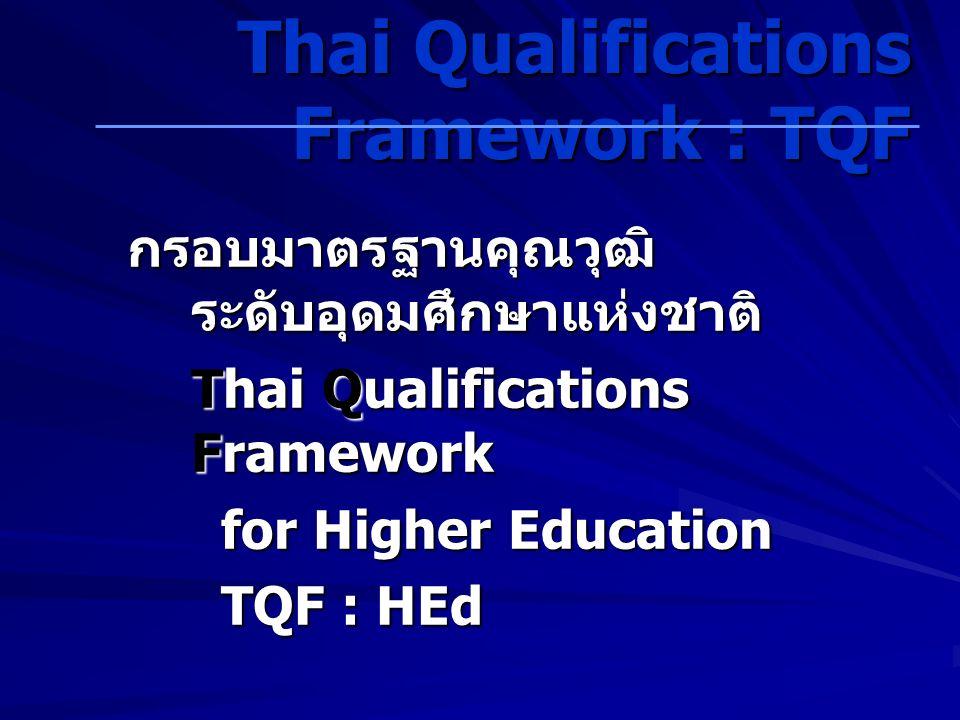 กรอบมาตรฐานคุณวุฒิ ระดับอุดมศึกษาแห่งชาติ Thai Qualifications Framework for Higher Education for Higher Education TQF : HEd TQF : HEd Thai Qualifications Framework : TQF