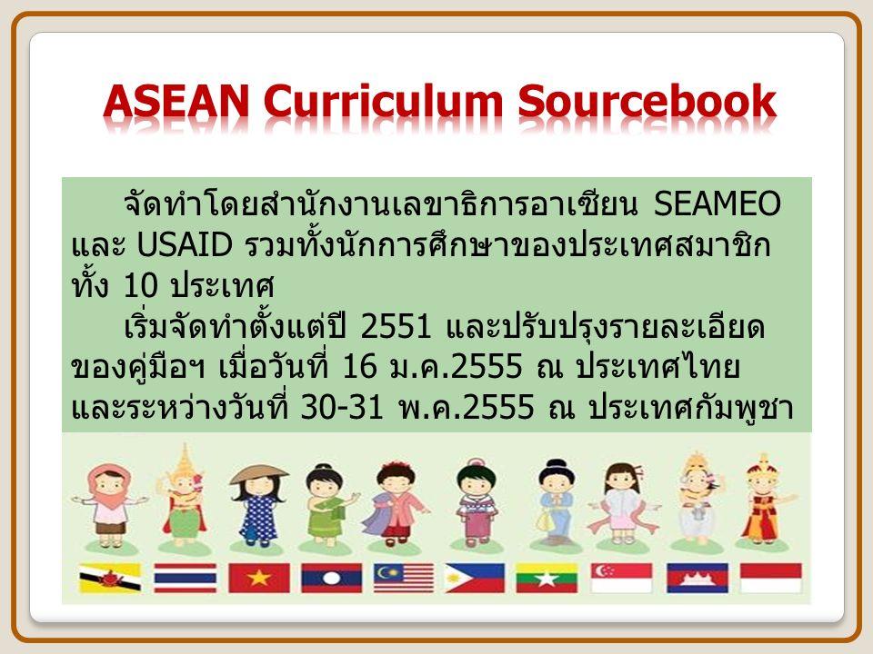 ที่ประชุมรัฐมนตรีกระทรวงศึกษาธิการ ของกลุ่มประเทศอาเซียน ระหว่างวันที่ 3 – 5 กรกฎาคม 2555 ณ ประเทศอินโดนีเซีย ได้ตกลงร่วมกันว่า ให้นำ ASEAN Curriculum Sourcebook ไปใช้เป็นแนวทางในการจัดการเรียนรู้ ตามบริบทของแต่ละประเทศ ASEAN Curriculum Sourcebook ถือเป็นหลักสูตรแกนกลางของอาเซียน ภายใต้ปรัชญาขั้นพื้นฐาน ให้นำ ASEAN Curriculum Sourcebook ไปใช้เป็นแนวทางในการจัดการเรียนรู้ ตามบริบทของแต่ละประเทศ ASEAN Curriculum Sourcebook ถือเป็นหลักสูตรแกนกลางของอาเซียน ภายใต้ปรัชญาขั้นพื้นฐาน