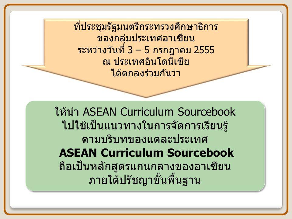 ที่ประชุมรัฐมนตรีกระทรวงศึกษาธิการ ของกลุ่มประเทศอาเซียน ระหว่างวันที่ 3 – 5 กรกฎาคม 2555 ณ ประเทศอินโดนีเซีย ได้ตกลงร่วมกันว่า ให้นำ ASEAN Curriculum
