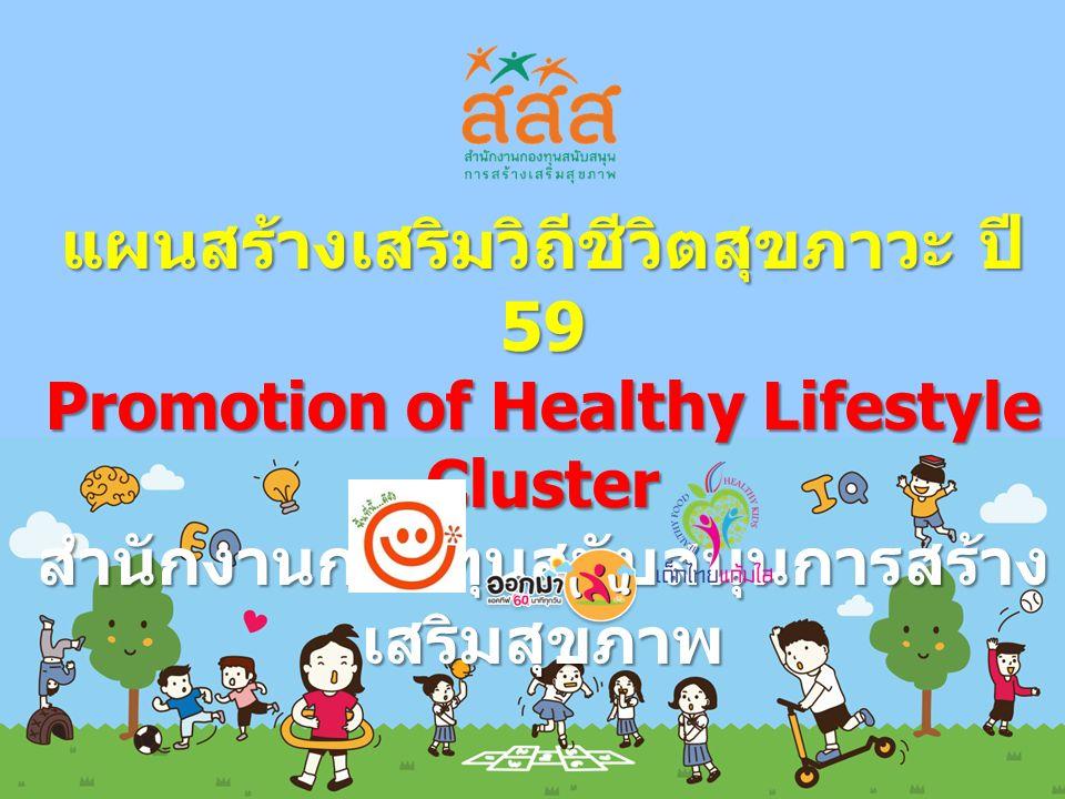 แผนสร้างเสริมวิถีชีวิตสุขภาวะ ปี 59 Promotion of Healthy Lifestyle Cluster สำนักงานกองทุนสนับสนุนการสร้าง เสริมสุขภาพ