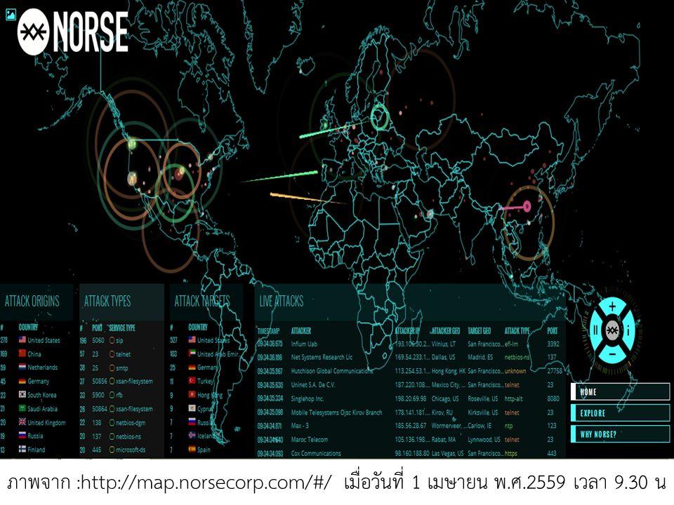 ภาพจาก :http://map.norsecorp.com/#/ เมื่อวันที่ 1 เมษายน พ.ศ.2559 เวลา 9.30 น
