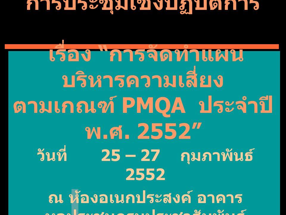 กำหนดการ วันที่ 25 กุมภาพันธ์ 2552  08.30 – 09.00 น.ลงทะเบียนรับเอกสาร  09.0 0 –10.00 น.พิธีเปิดการประชุมฯ ชี้แจงวัตถุประสงค์และแนวทางการ ประชุม โดยนางจิตติมา จารุจินดา  10.00 – 12.00 น.ชี้แจงแนวทางการวิเคราะห์และ จัดทำแผนบริหารความเสี่ยงตาม เกณฑ์ PMQA : โดยนางสาวสุนิษา บุญรอด  12.00 – 13.00 น.(พักรับประทานอาหารกลางวัน )  13.00 – 15.00 น.ชี้แจงแนวทางการวิเคราะห์ความ เสี่ยงโครงการสำคัญ โดยนางเสาวรีย์ อัมภสุวรรณ์  15.00 – 16.30 น.การประชุมกลุ่มย่อย วิเคราะห์และ จัดทำแผนบริหารความเสี่ยง โครงการสำคัญ