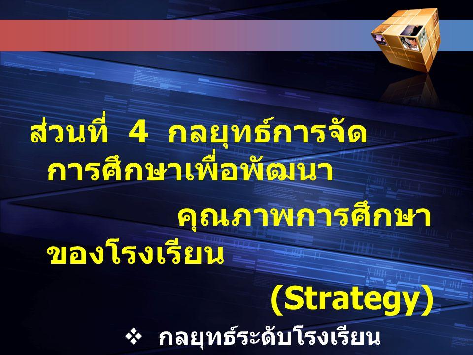 ส่วนที่ 4 กลยุทธ์การจัด การศึกษาเพื่อพัฒนา คุณภาพการศึกษา ของโรงเรียน (Strategy)  กลยุทธ์ระดับโรงเรียน