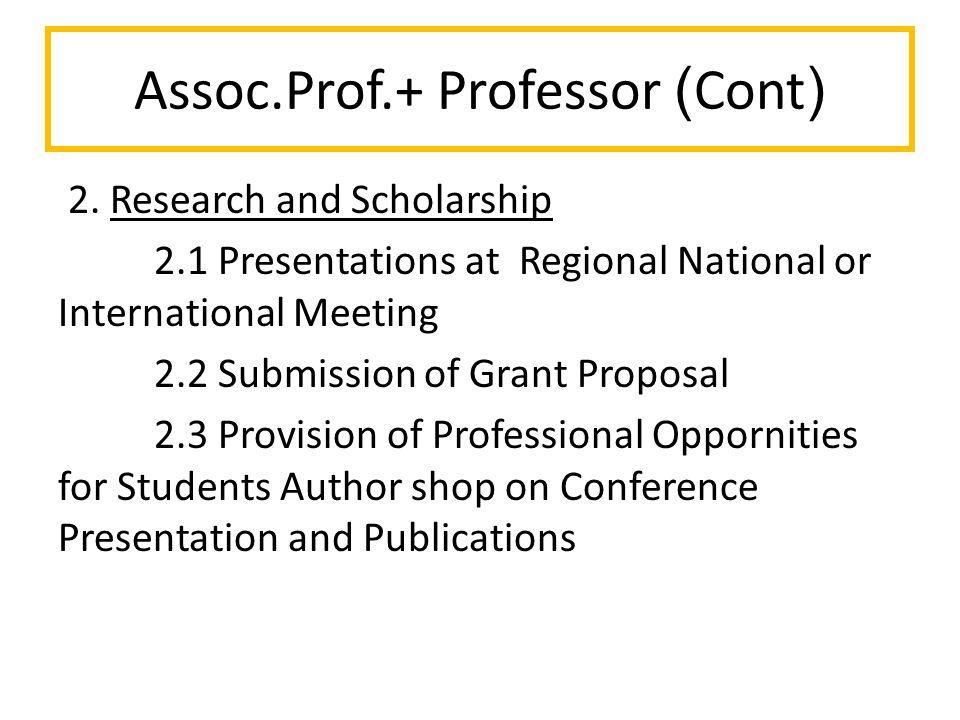 Assoc.Prof.+ Professor (Cont) 2.