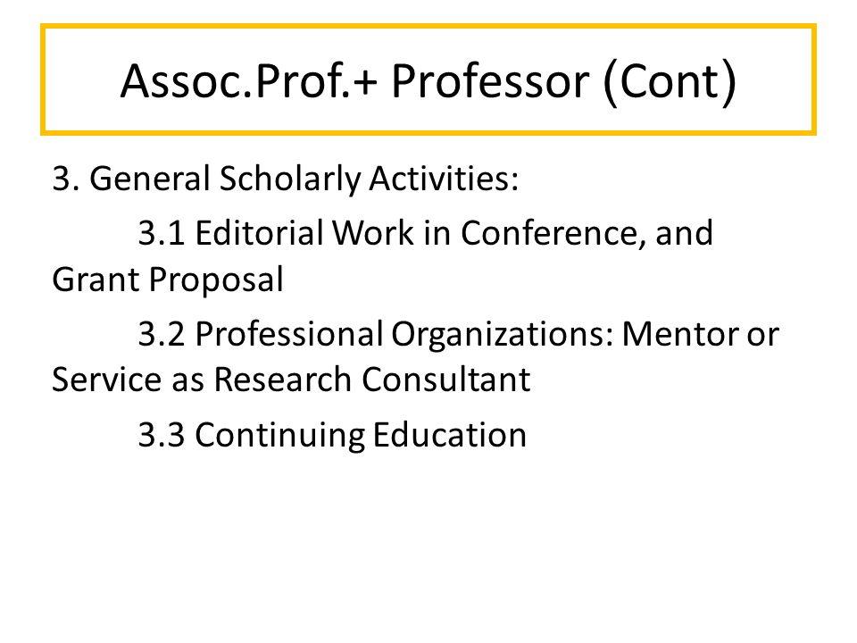 Assoc.Prof.+ Professor (Cont) 3.