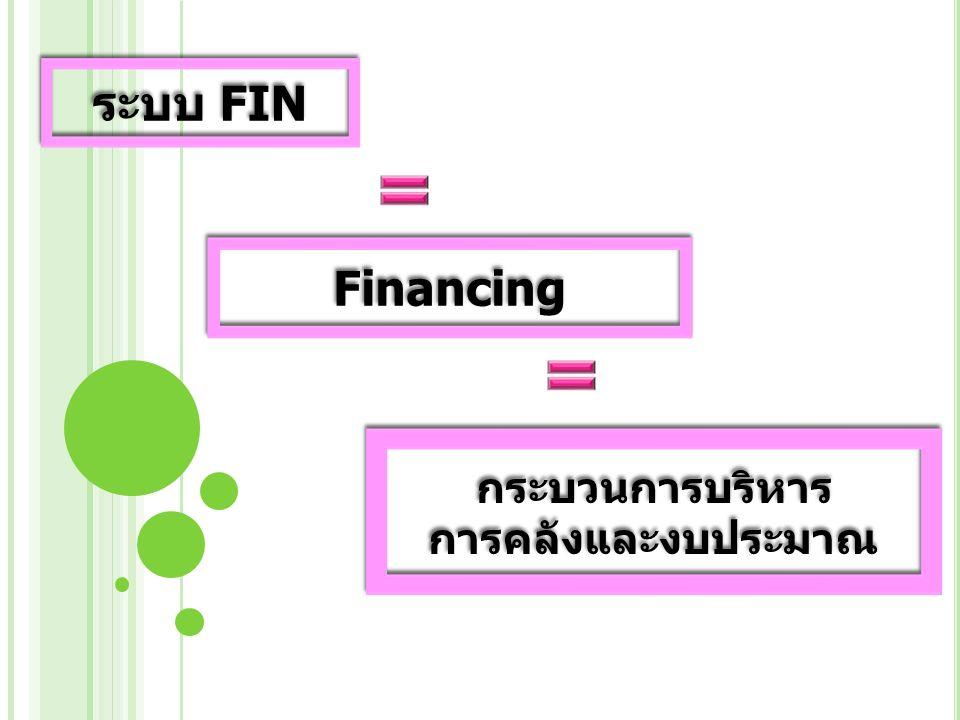 ระบบ FIN Financing กระบวนการบริหาร การคลังและงบประมาณ กระบวนการบริหาร การคลังและงบประมาณ