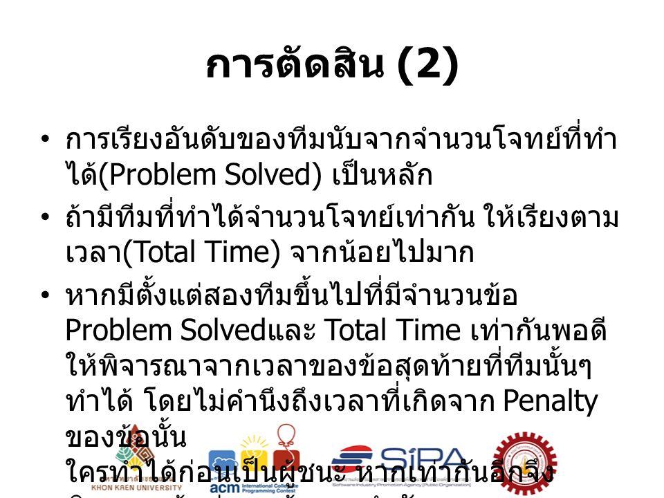 การตัดสิน (2) การเรียงอันดับของทีมนับจากจำนวนโจทย์ที่ทำ ได้ (Problem Solved) เป็นหลัก ถ้ามีทีมที่ทำได้จำนวนโจทย์เท่ากัน ให้เรียงตาม เวลา (Total Time) จากน้อยไปมาก หากมีตั้งแต่สองทีมขึ้นไปที่มีจำนวนข้อ Problem Solved และ Total Time เท่ากันพอดี ให้พิจารณาจากเวลาของข้อสุดท้ายที่ทีมนั้นๆ ทำได้ โดยไม่คำนึงถึงเวลาที่เกิดจาก Penalty ของข้อนั้น ใครทำได้ก่อนเป็นผู้ชนะ หากเท่ากันอีกจึง พิจารณาข้อก่อนหน้าตามลำดับ