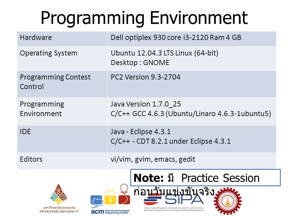 Programming Environment HardwareDell optiplex 930 core i3-2120 Ram 4 GB Operating SystemUbuntu 12.04.3 LTS Linux (64-bit) Desktop : GNOME Programming Contest Control PC2 Version 9.3-2704 Programming Environment Java Version 1.7.0_25 C/C++ GCC 4.6.3 (Ubuntu/Linaro 4.6.3-1ubuntu5) IDEJava - Eclipse 4.3.1 C/C++ - CDT 8.2.1 under Eclipse 4.3.1 Editorsvi/vim, gvim, emacs, gedit Note: มี Practice Session ก่อนวันแข่งขันจริง