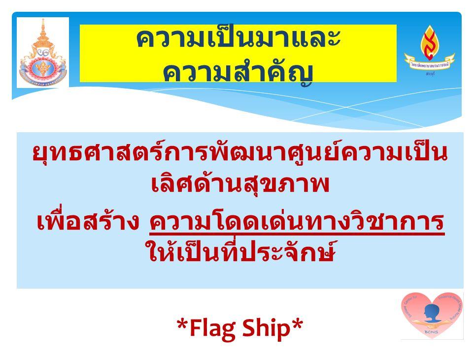 ยุทธศาสตร์การพัฒนาศูนย์ความเป็น เลิศด้านสุขภาพ เพื่อสร้าง ความโดดเด่นทางวิชาการ ให้เป็นที่ประจักษ์ *Flag Ship* ความเป็นมาและ ความสำคัญ