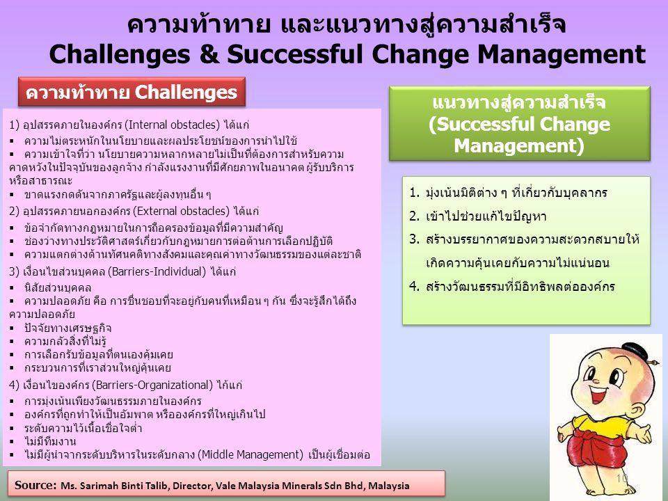 ความท้าทาย และแนวทางสู่ความสำเร็จ Challenges & Successful Change Management Source: Ms.