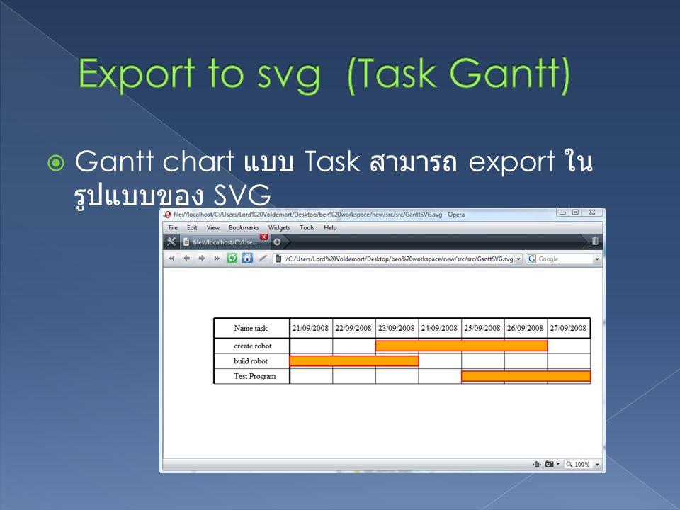  Gantt chart แบบ Task สามารถ export ใน รูปแบบของ SVG