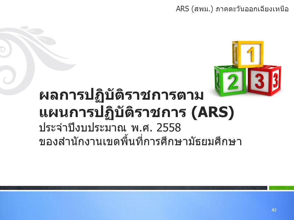 42 ผลการปฏิบัติราชการตาม แผนการปฏิบัติราชการ (ARS) ประจำปีงบประมาณ พ.ศ.