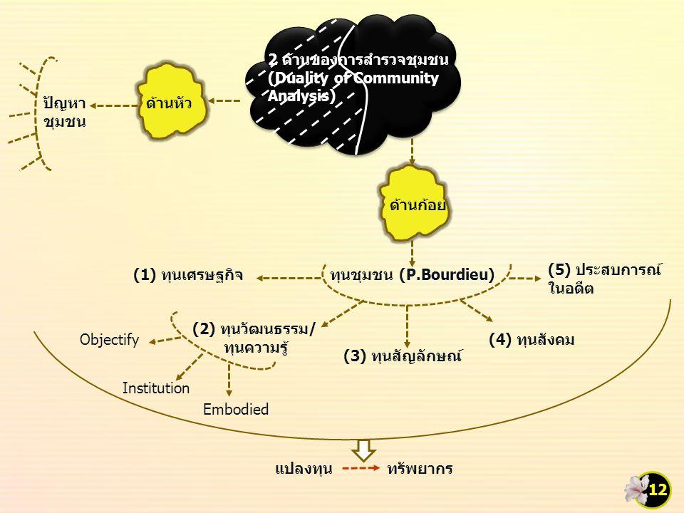 แปลงทุน 2 ด้านของการสำรวจชุมชน (Duality of Community Analysis) ด้านหัวปัญหา ชุมชน ด้านก้อย ทุนชุมชน (P.Bourdieu)(1) ทุนเศรษฐกิจ (2) ทุนวัฒนธรรม/ ทุนความรู้ (3) ทุนสัญลักษณ์ (4) ทุนสังคม (5) ประสบการณ์ ในอดีต Objectify Institution Embodied ทรัพยากร 12