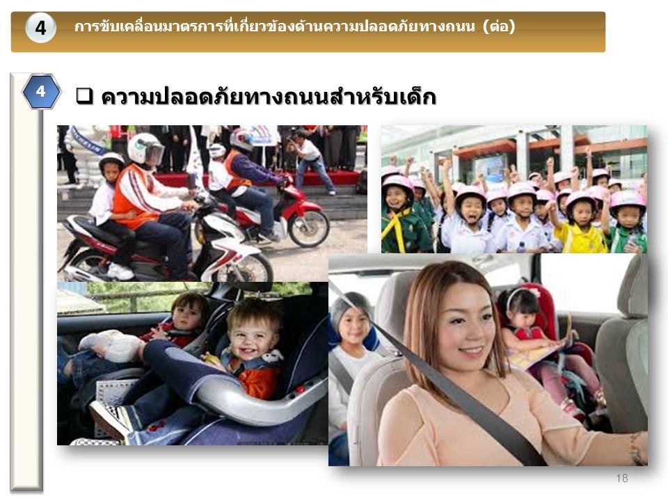 4 การขับเคลื่อนมาตรการที่เกี่ยวข้องด้านความปลอดภัยทางถนน (ต่อ) 4 18  ความปลอดภัยทางถนนสำหรับเด็ก