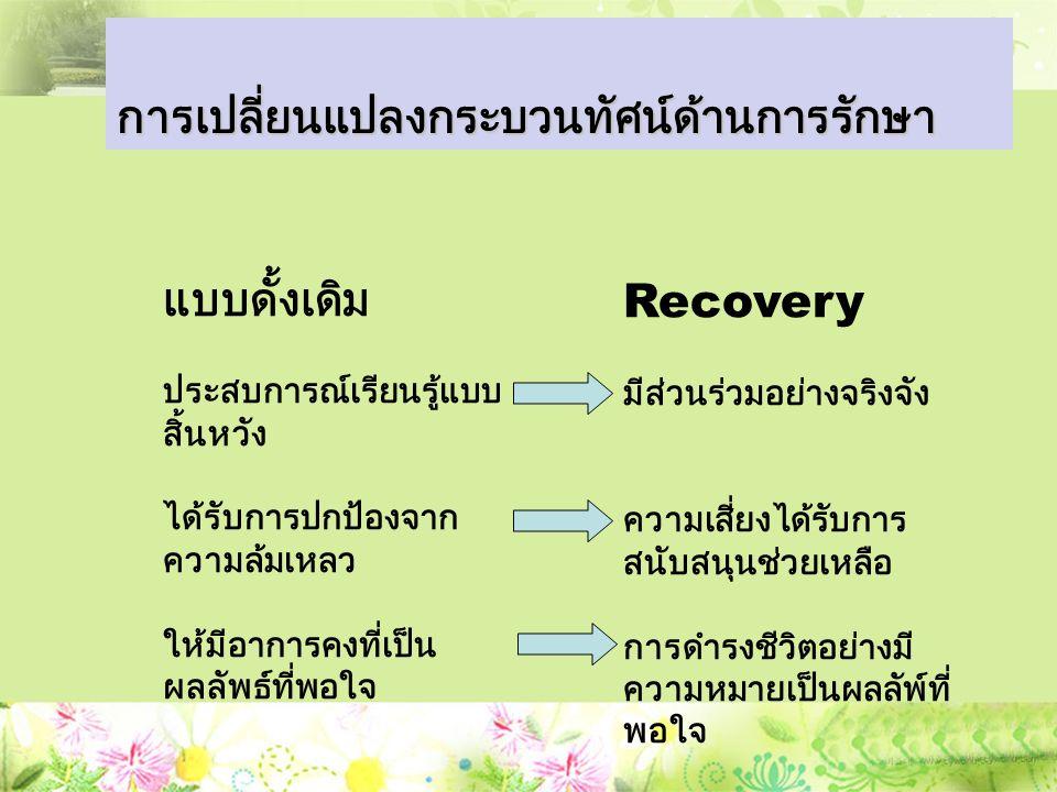 แบบดั้งเดิม ประสบการณ์เรียนรู้แบบ สิ้นหวัง ได้รับการปกป้องจาก ความล้มเหลว ให้มีอาการคงที่เป็น ผลลัพธ์ที่พอใจ การเปลี่ยนแปลงกระบวนทัศน์ด้านการรักษา Recovery มีส่วนร่วมอย่างจริงจัง ความเสี่ยงได้รับการ สนับสนุนช่วยเหลือ การดำรงชีวิตอย่างมี ความหมายเป็นผลลัพ์ที่ พอใจ