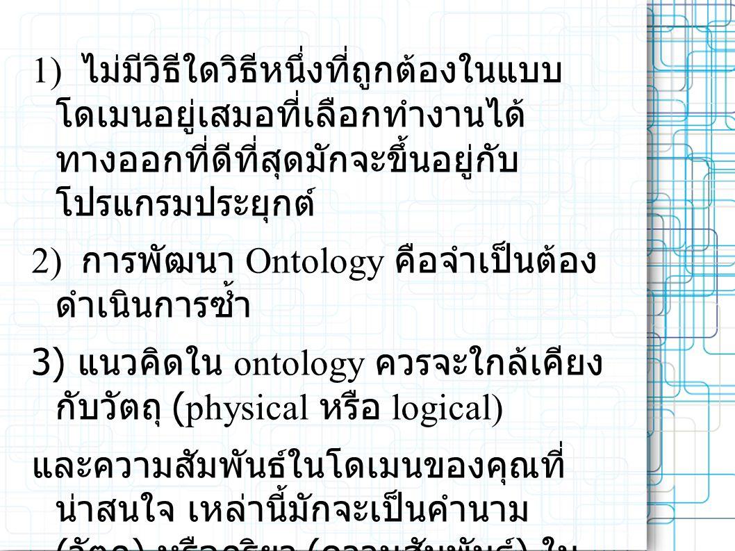 1) ไม่มีวิธีใดวิธีหนึ่งที่ถูกต้องในแบบ โดเมนอยู่เสมอที่เลือกทำงานได้ ทางออกที่ดีที่สุดมักจะขึ้นอยู่กับ โปรแกรมประยุกต์ 2) การพัฒนา Ontology คือจำเป็นต้อง ดำเนินการซ้ำ 3) แนวคิดใน ontology ควรจะใกล้เคียง กับวัตถุ (physical หรือ logical) และความสัมพันธ์ในโดเมนของคุณที่ น่าสนใจ เหล่านี้มักจะเป็นคำนาม ( วัตถุ ) หรือกริยา ( ความสัมพันธ์ ) ใน ประโยคที่อธิบายโดเมนของคุณ