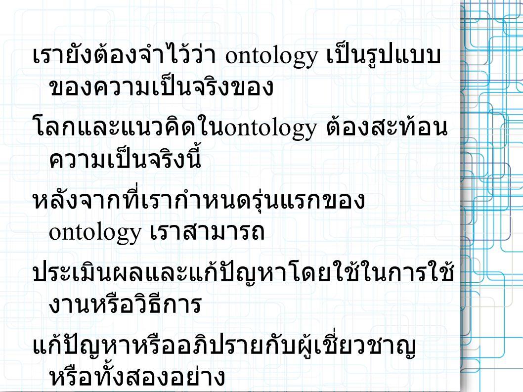 เรายังต้องจำไว้ว่า ontology เป็นรูปแบบ ของความเป็นจริงของ โลกและแนวคิดใน ontology ต้องสะท้อน ความเป็นจริงนี้ หลังจากที่เรากำหนดรุ่นแรกของ ontology เราสามารถ ประเมินผลและแก้ปัญหาโดยใช้ในการใช้ งานหรือวิธีการ แก้ปัญหาหรืออภิปรายกับผู้เชี่ยวชาญ หรือทั้งสองอย่าง ดังนั้นเราจะต้องแก้ไข ontology แรก กระบวนการออกแบบซ้ำ นี้อาจจะต่อผ่านทั้งวงจรชีวิตของ ontology