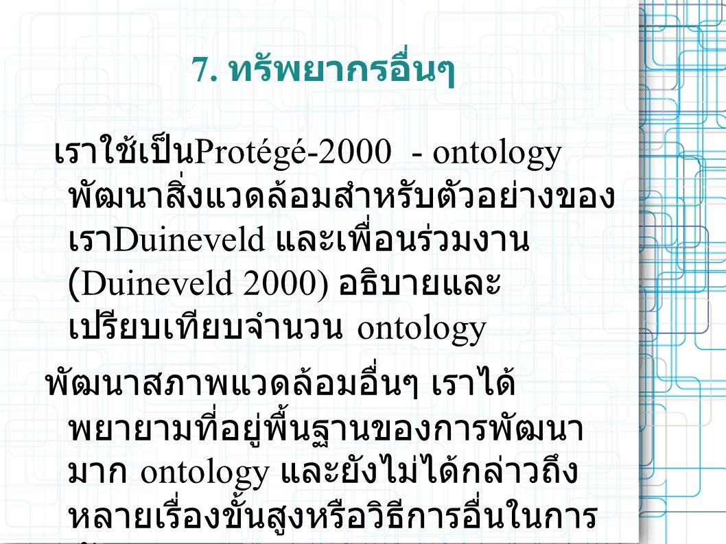 7. ทรัพยากรอื่นๆ เราใช้เป็น Protégé-2000 - ontology พัฒนาสิ่งแวดล้อมสำหรับตัวอย่างของ เรา Duineveld และเพื่อนร่วมงาน (Duineveld 2000) อธิบายและ เปรียบ