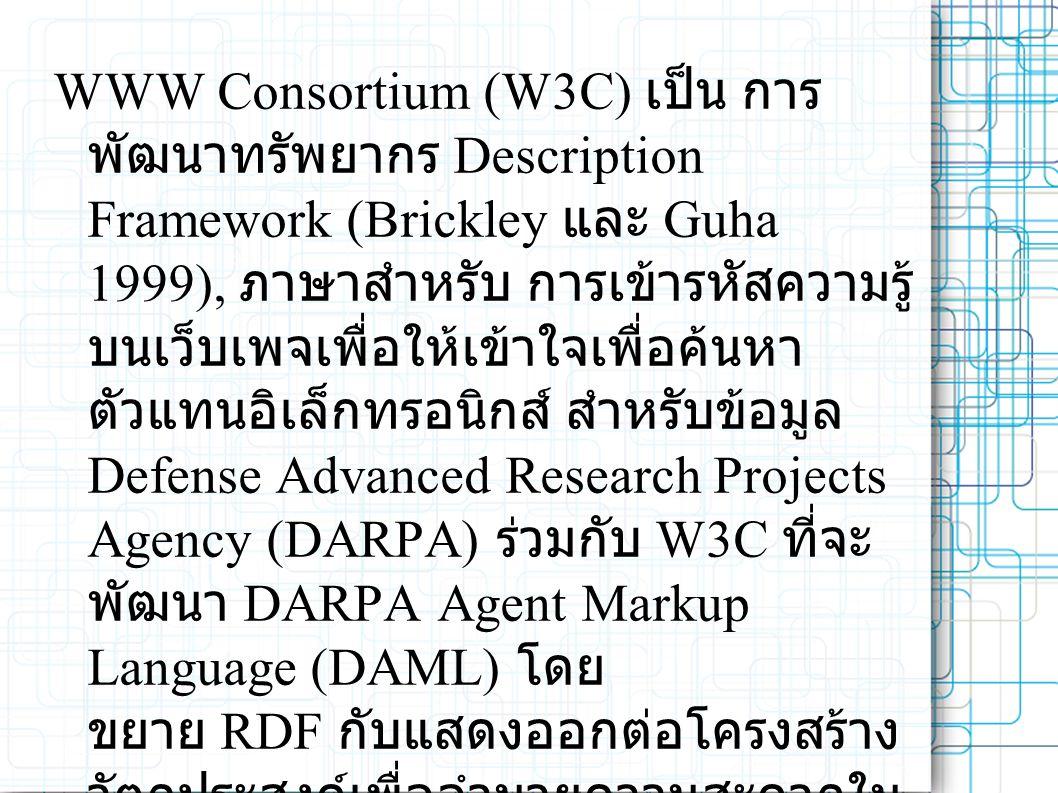 WWW Consortium (W3C) เป็น การ พัฒนาทรัพยากร Description Framework (Brickley และ Guha 1999), ภาษาสำหรับ การเข้ารหัสความรู้ บนเว็บเพจเพื่อให้เข้าใจเพื่อค้นหา ตัวแทนอิเล็กทรอนิกส์ สำหรับข้อมูล Defense Advanced Research Projects Agency (DARPA) ร่วมกับ W3C ที่จะ พัฒนา DARPA Agent Markup Language (DAML) โดย ขยาย RDF กับแสดงออกต่อโครงสร้าง วัตถุประสงค์เพื่ออำนวยความสะดวกใน การติดต่อตัวแทน Web (Hendler และ 2000 McGuinness) หลายสาขา