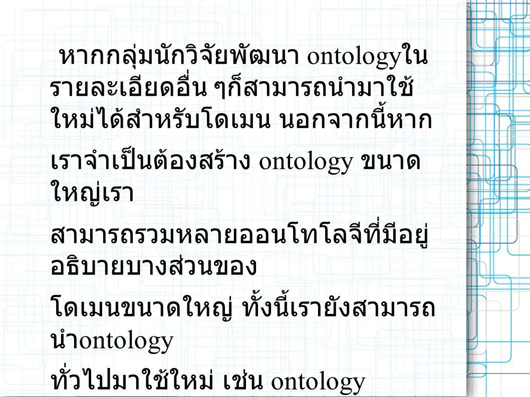 หากกลุ่มนักวิจัยพัฒนา ontology ใน รายละเอียดอื่น ๆก็สามารถนำมาใช้ ใหม่ได้สำหรับโดเมน นอกจากนี้หาก เราจำเป็นต้องสร้าง ontology ขนาด ใหญ่เรา สามารถรวมหลายออนโทโลจีที่มีอยู่ อธิบายบางส่วนของ โดเมนขนาดใหญ่ ทั้งนี้เรายังสามารถ นำ ontology ทั่วไปมาใช้ใหม่ เช่น ontology UNSPSC เพื่ออธิบายโดเมนของเราที่น่าสนใจ