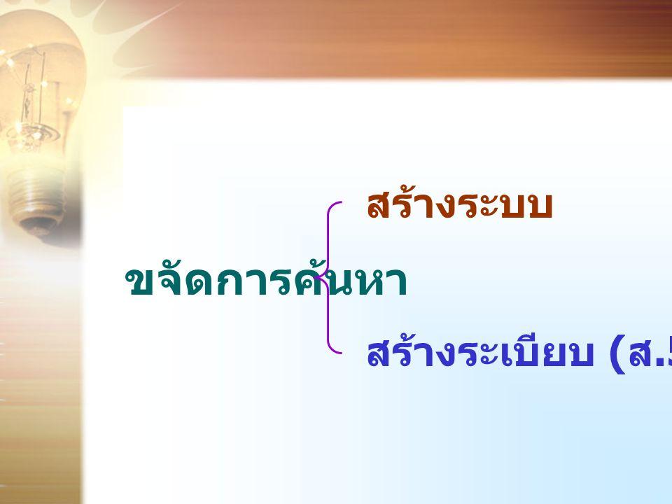 ขจัดการค้นหา สร้างระบบ สร้างระเบียบ ( ส.5)