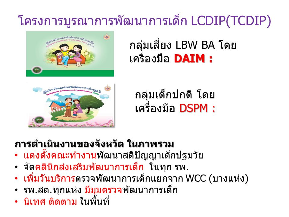 โครงการบูรณาการพัฒนาการเด็ก LCDIP(TCDIP) DAIM : กลุ่มเสี่ยง LBW BA โดย เครื่องมือ DAIM : กลุ่มเด็กปกติ โดย DSPM : เครื่องมือ DSPM : การดำเนินงานของจังหวัด ในภาพรวม แต่งตั้งคณะทำงานพัฒนาสติปัญญาเด็กปฐมวัย จัดคลินิกส่งเสริมพัฒนาการเด็ก ในทุก รพ.